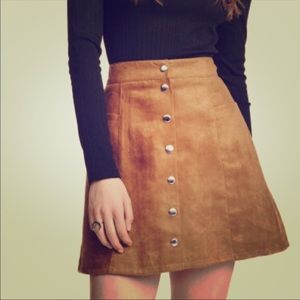 H&M suede-like tan skirt